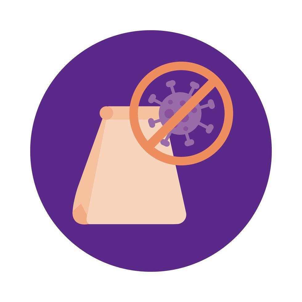 paper bag with stop covid19 signal block style vector