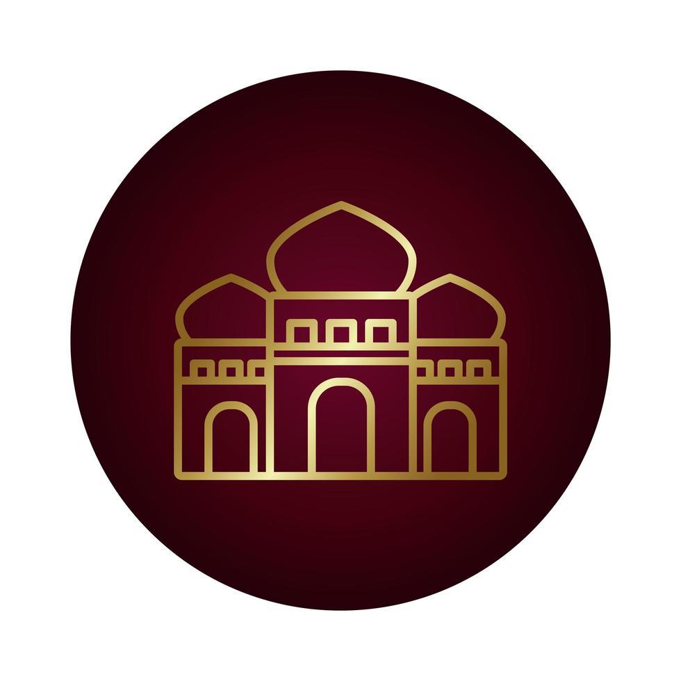 ramadam kareem temple block gradient style icon vector