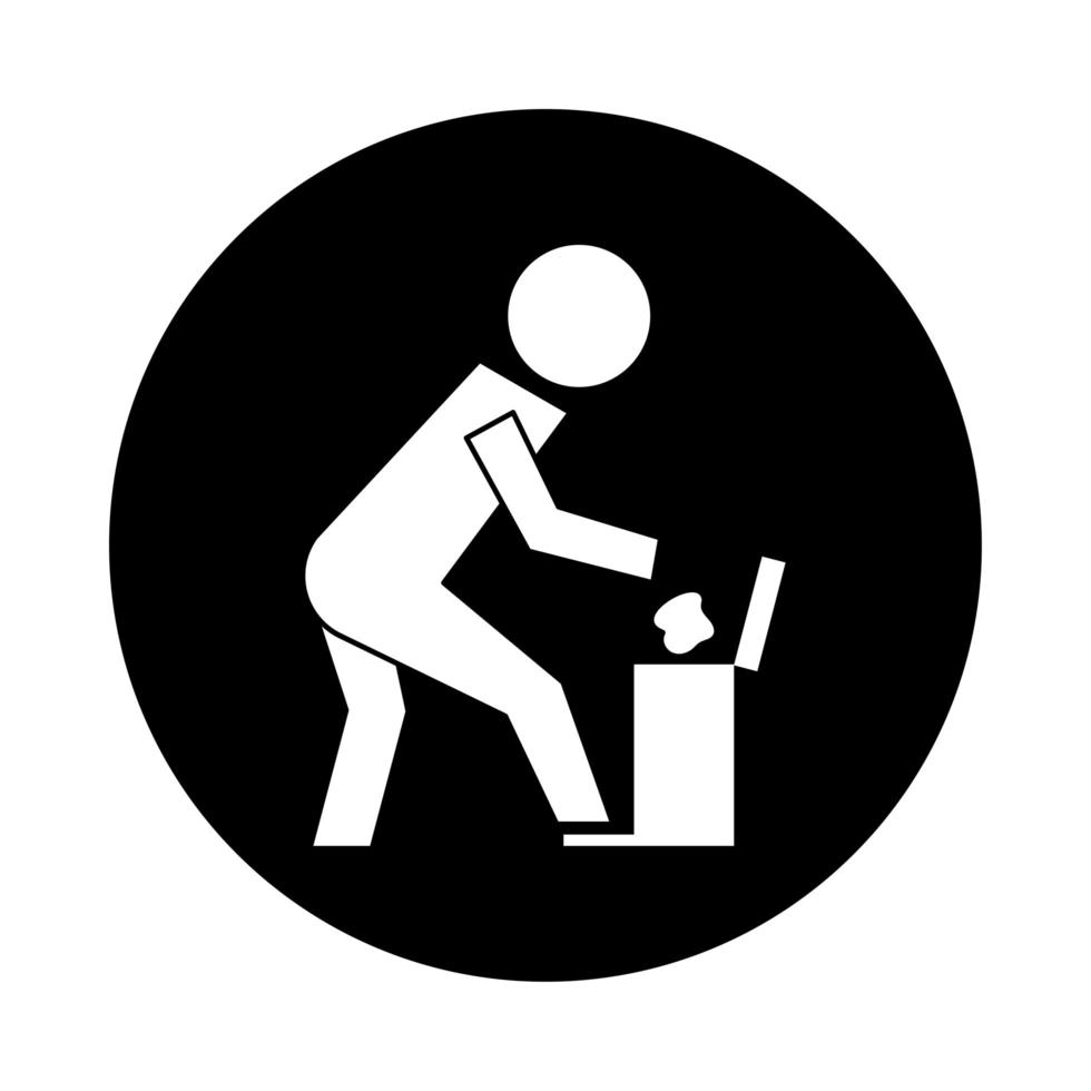 human throwing garbage in pot pictogram block style vector