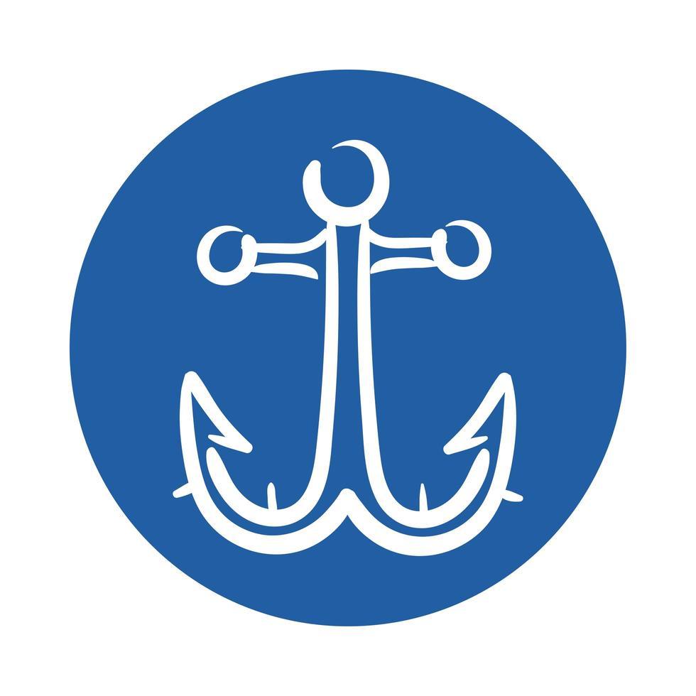 icono de estilo de bloque de ancla marina vector