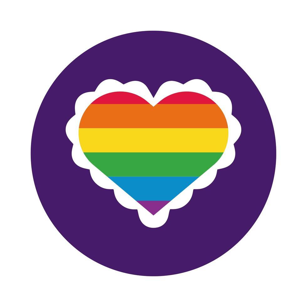 corazón con estilo de bloque de bandera del orgullo gay vector