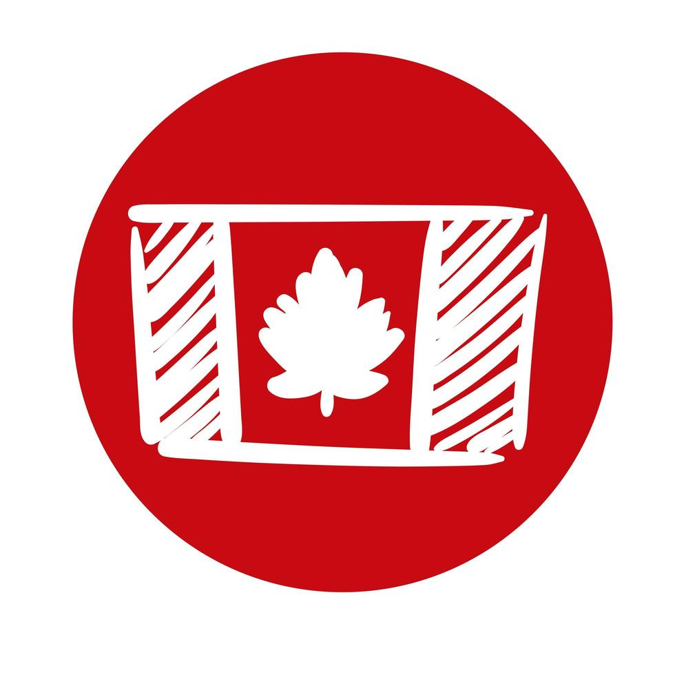 canada flag block style icon vector