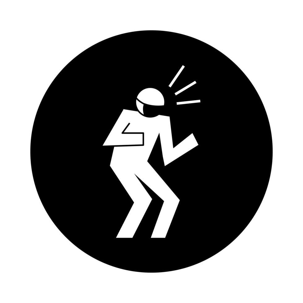 Figura humana estornudando con estilo de bloque de pictogramas de mascarilla vector