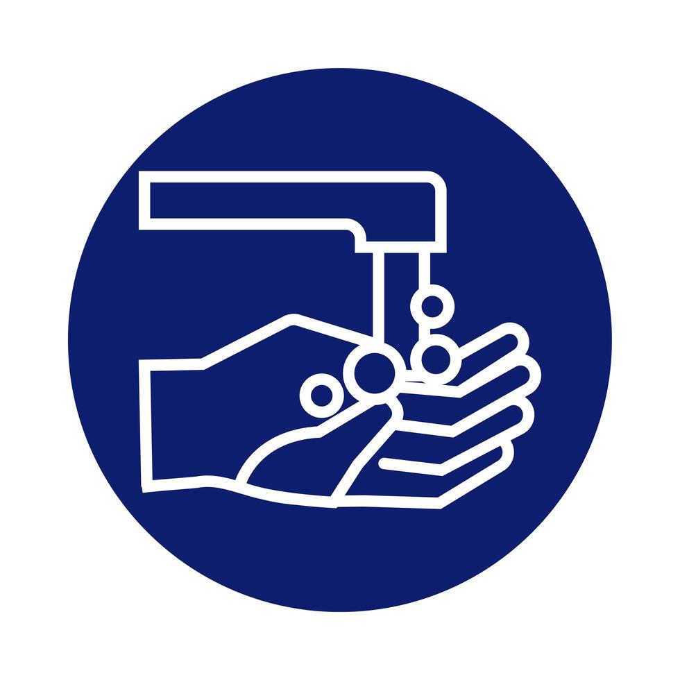 hands washing with faucet block style icon vector