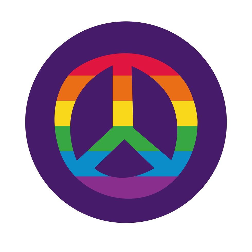 símbolo de paz con estilo de bloque de bandera del orgullo gay vector