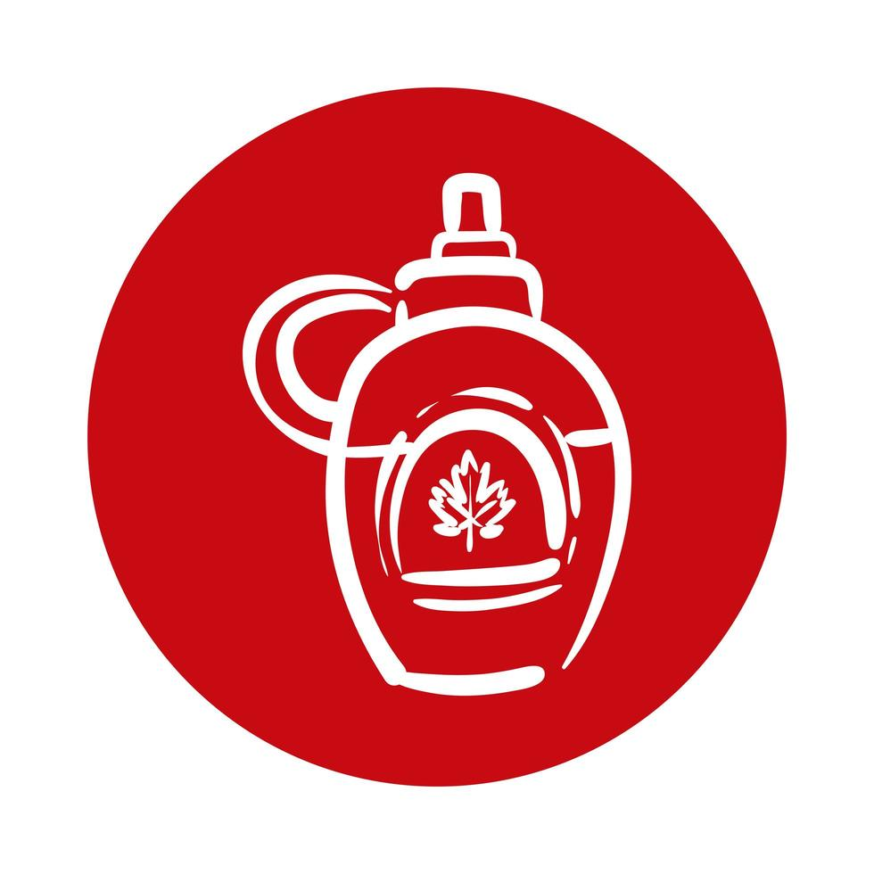 bottle jar with maple leaf canadian block style vector