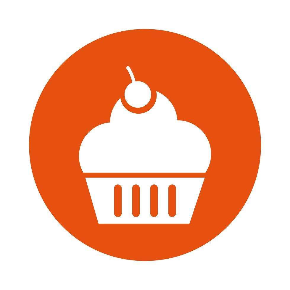 sweet cupcake block style icon vector
