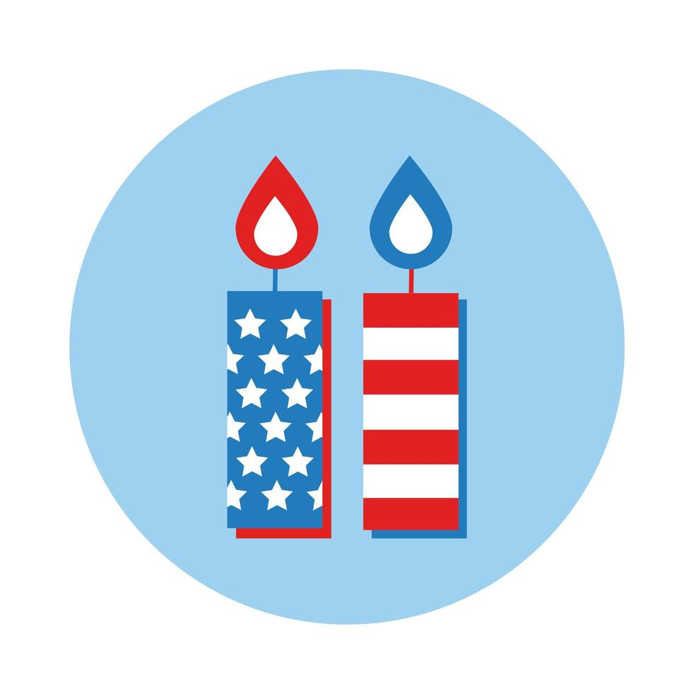 usa flag in candles block style icon vector