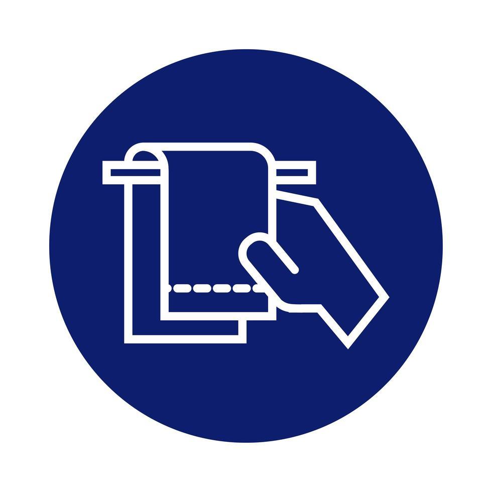 lavado de manos con icono de estilo de bloque de toalla vector
