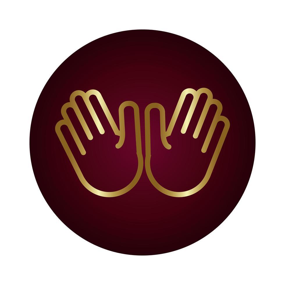 estilo de gradiente de bloque de señal de dos manos vector