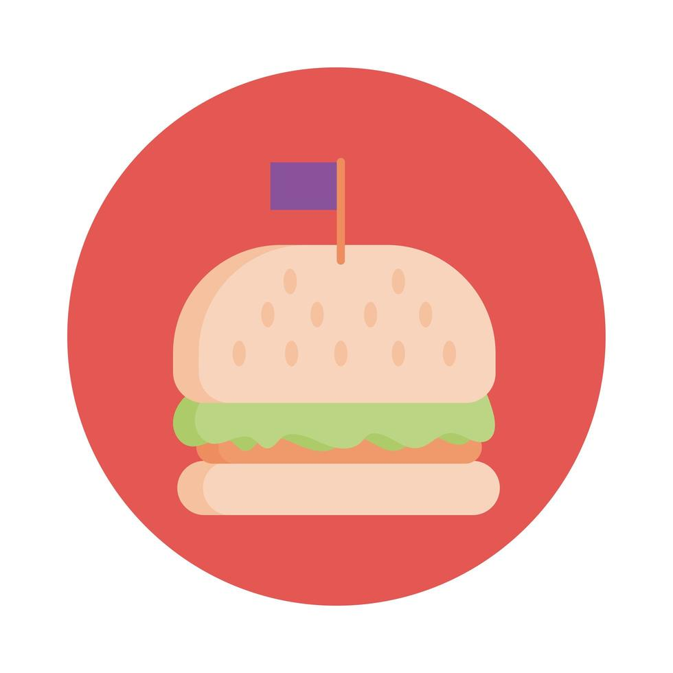 delicious burger fast food block style icon vector
