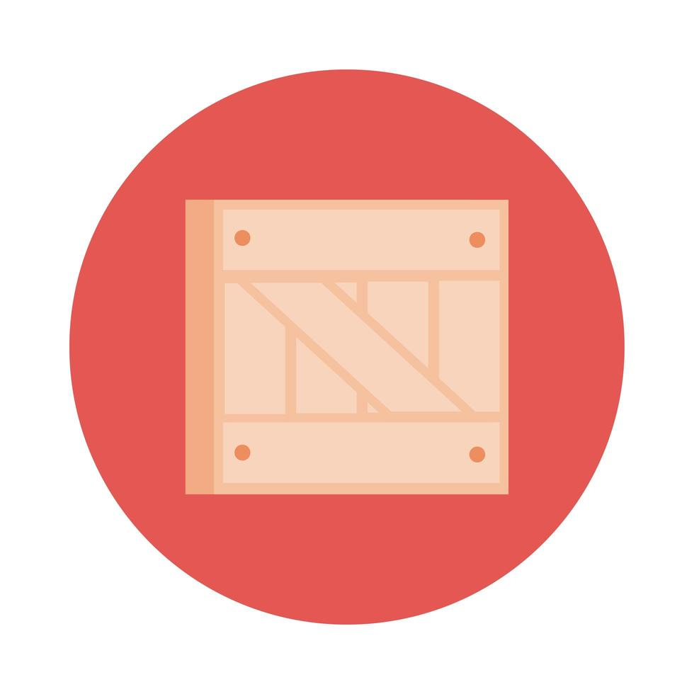 wooden box delivery service block style vector