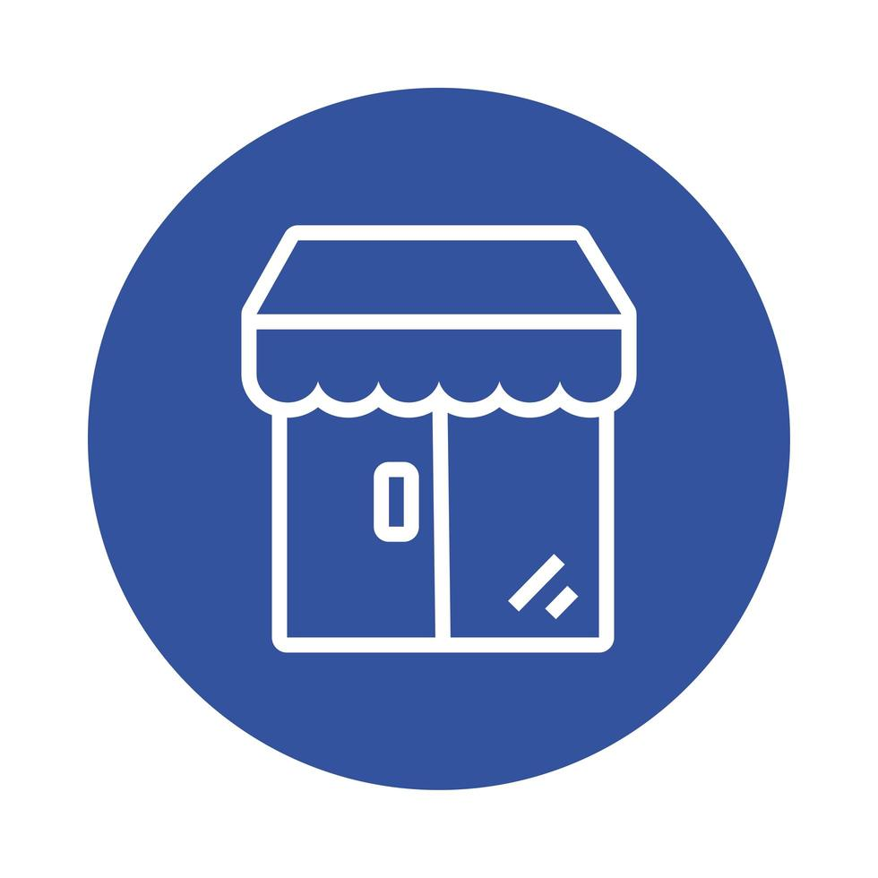 store building with parasol block style icon vector