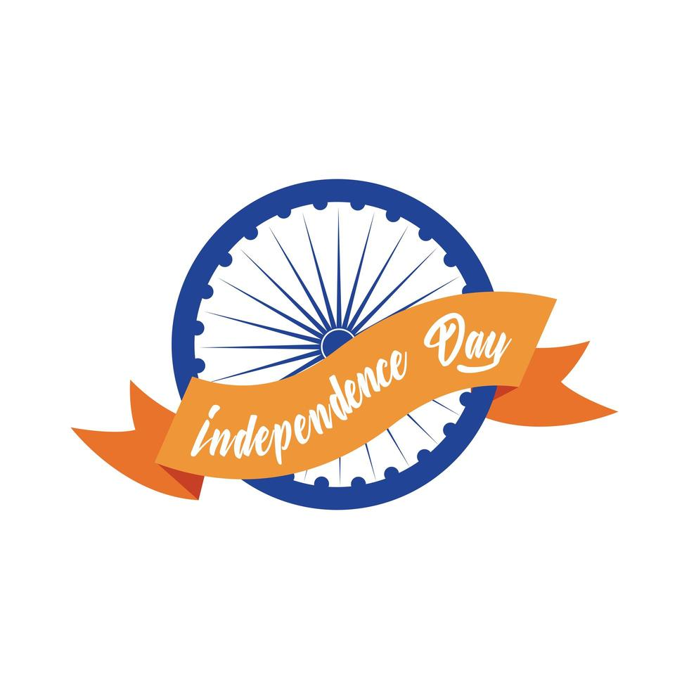 india independence day celebration with ashoka chakra with ribbon flat style vector
