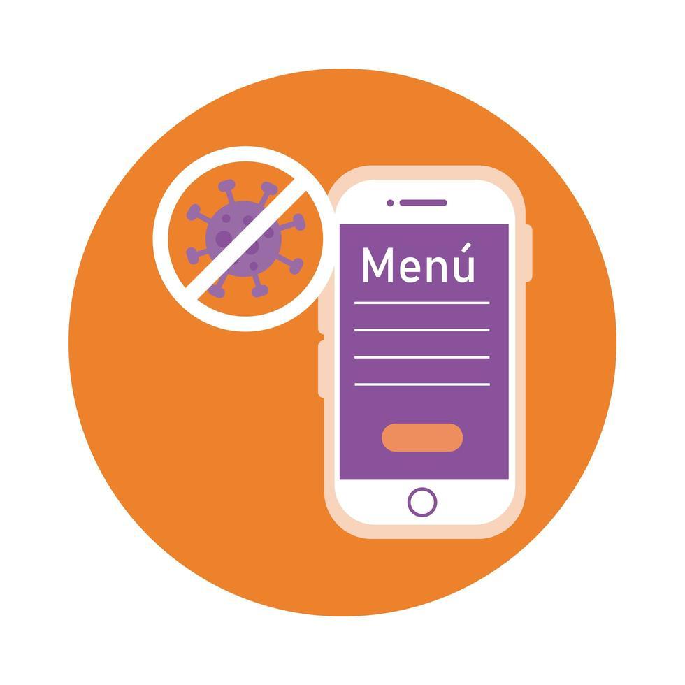 restaurante de menú y teléfono inteligente con parada covid19 estilo bloque vector