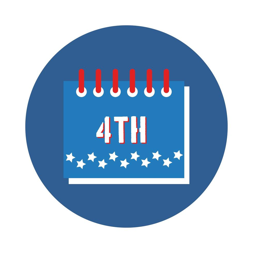 calendar with stars fourth of july block style vector