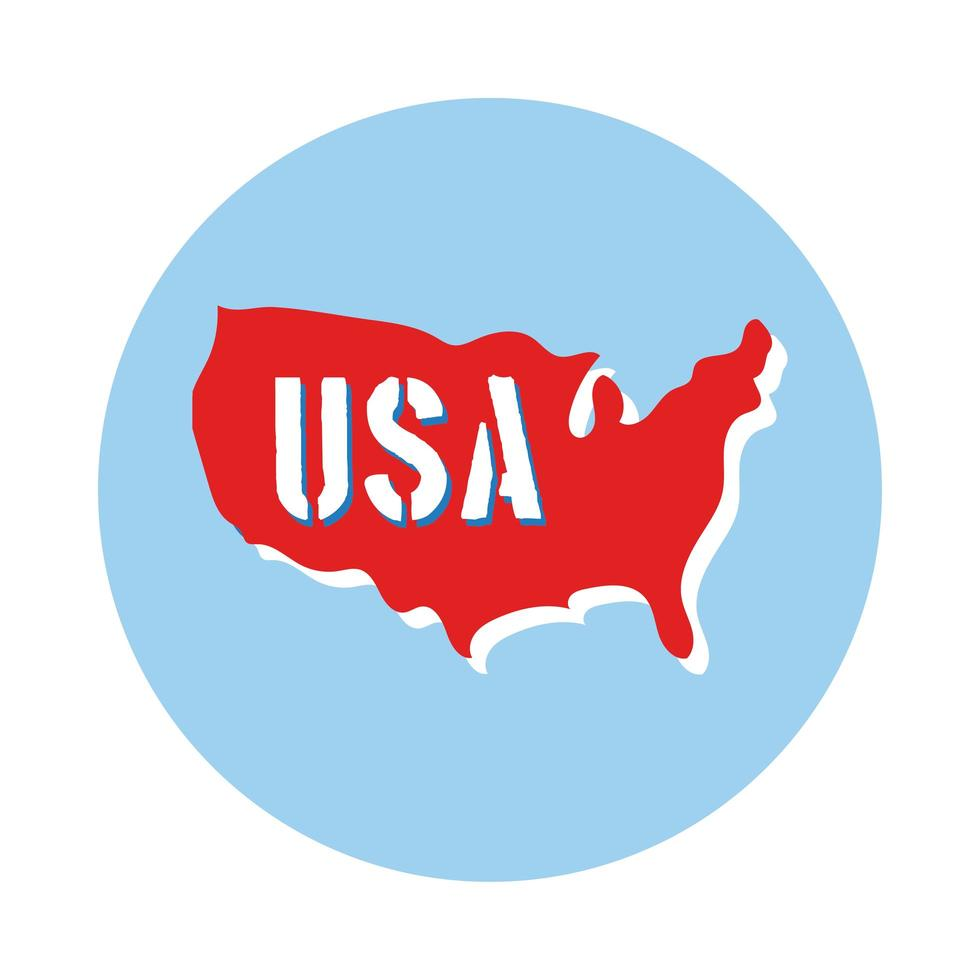 usa map with name block style vector