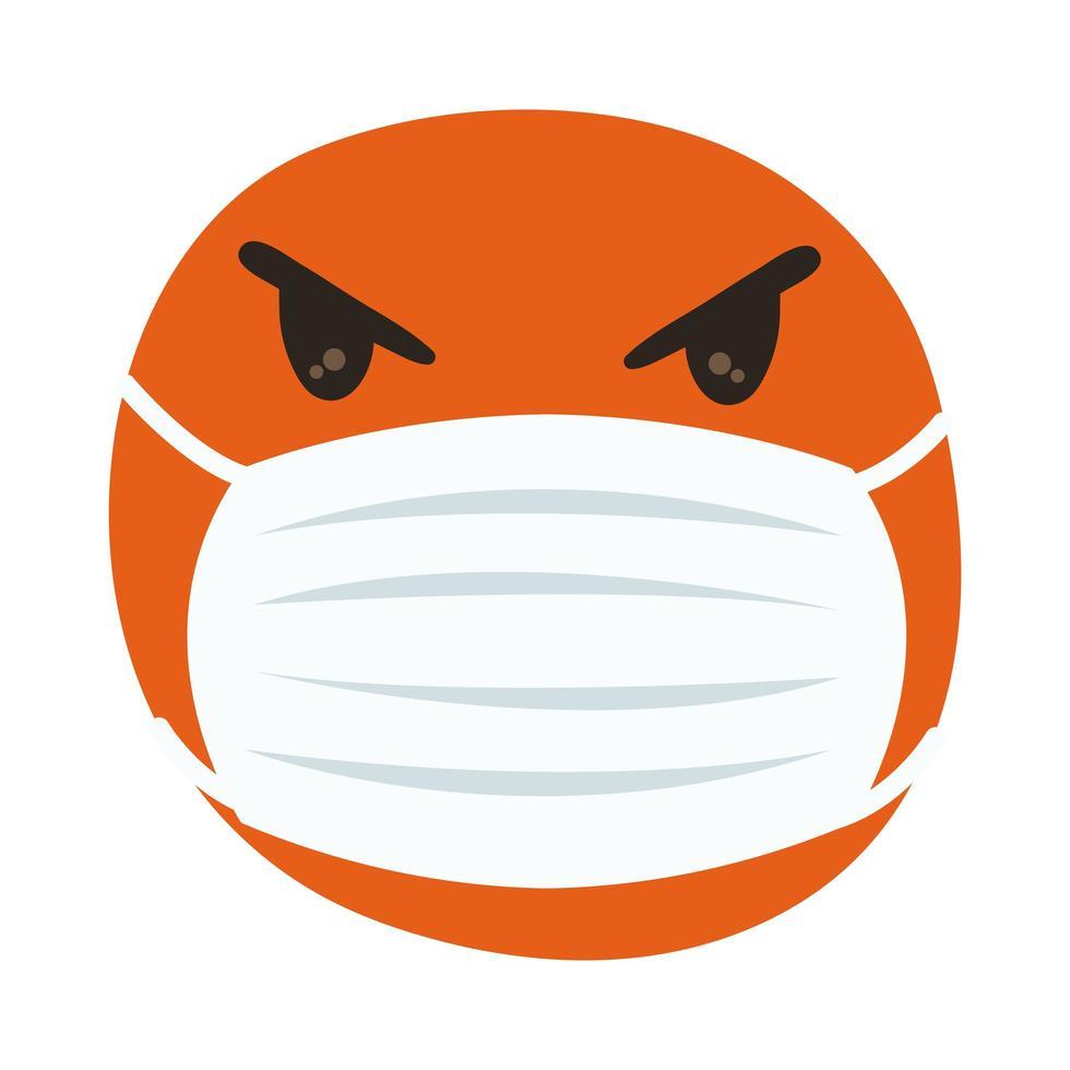 emoji enojado con máscara médica estilo de dibujo a mano vector