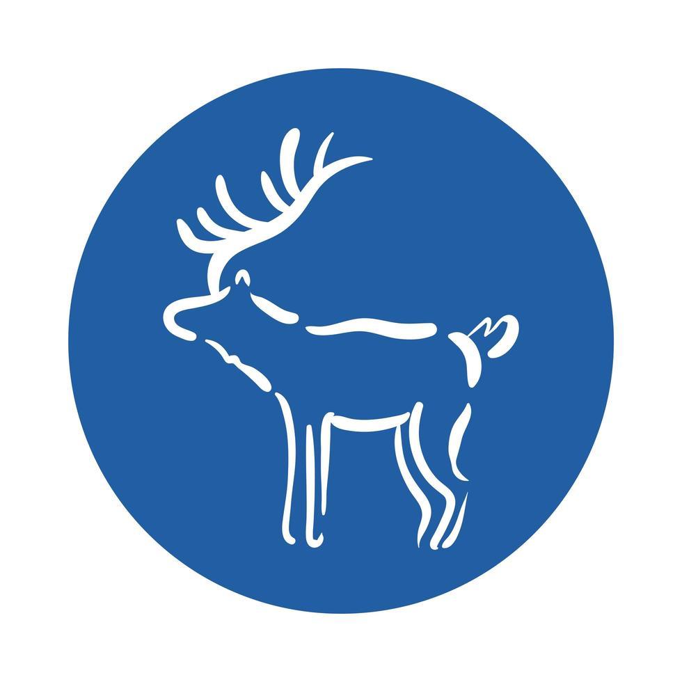 reindeer animal block style icon vector