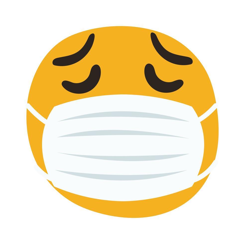 emoji triste con máscara médica estilo de dibujo a mano vector