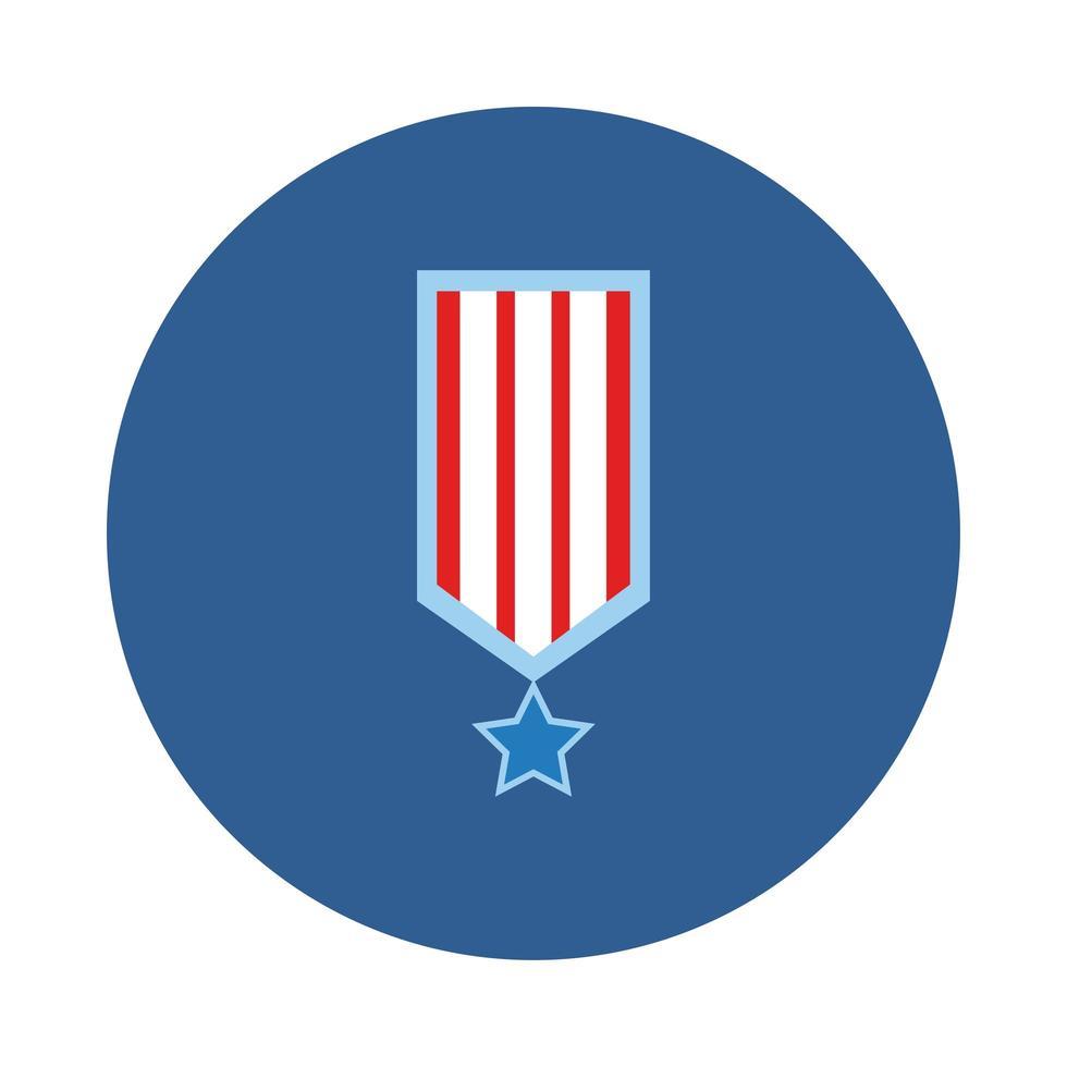 medalla con rayas y estrella estilo bloque del día de la independencia vector