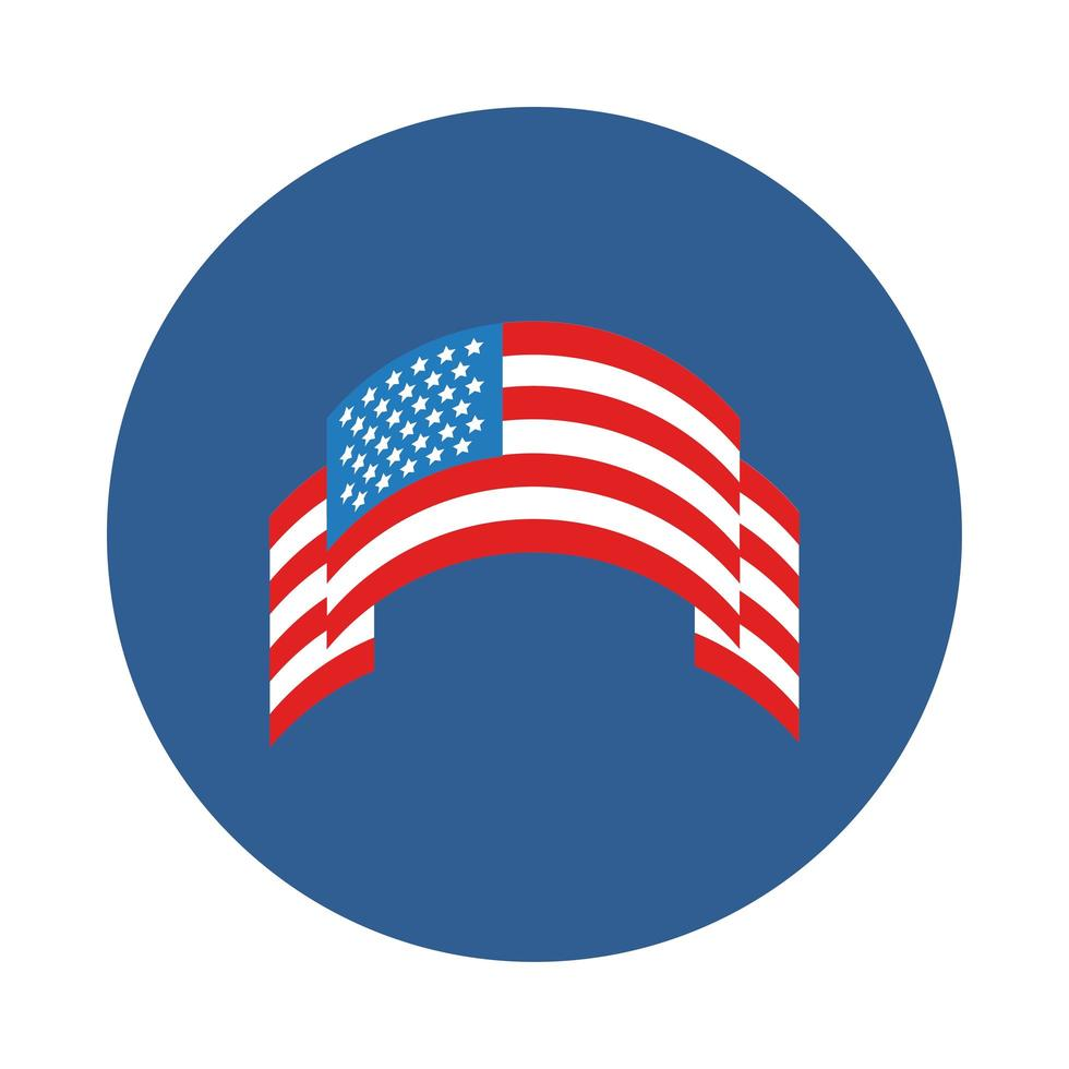 ribbon with usa flag block style vector