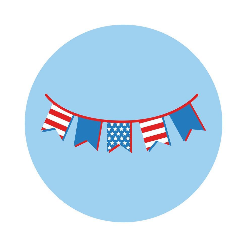 guirnaldas con estilo de bloque de bandera de EE. UU. vector