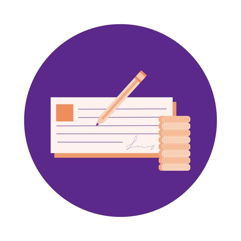 billete con estilo bloque de lápiz vector