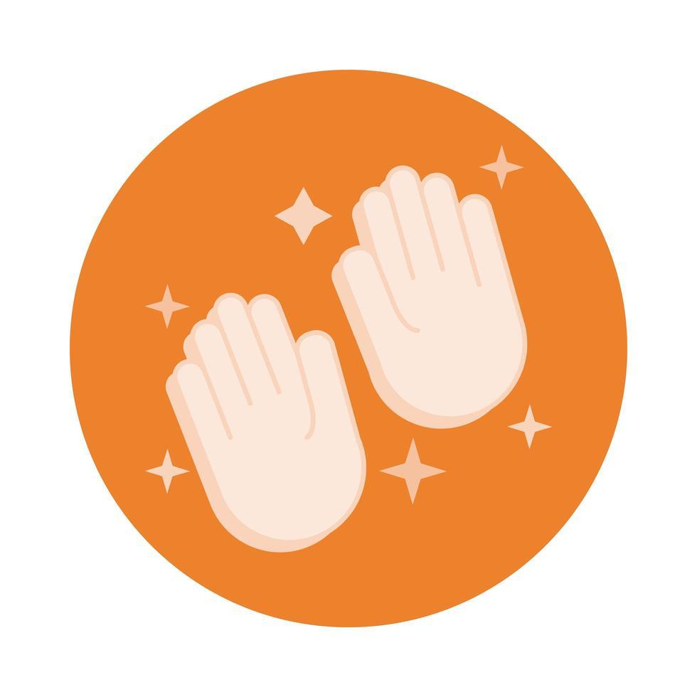 icono de estilo de bloque de limpieza de manos vector