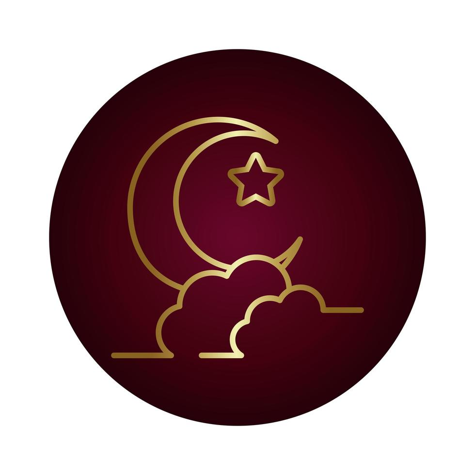 moon night with star block gradient style icon vector