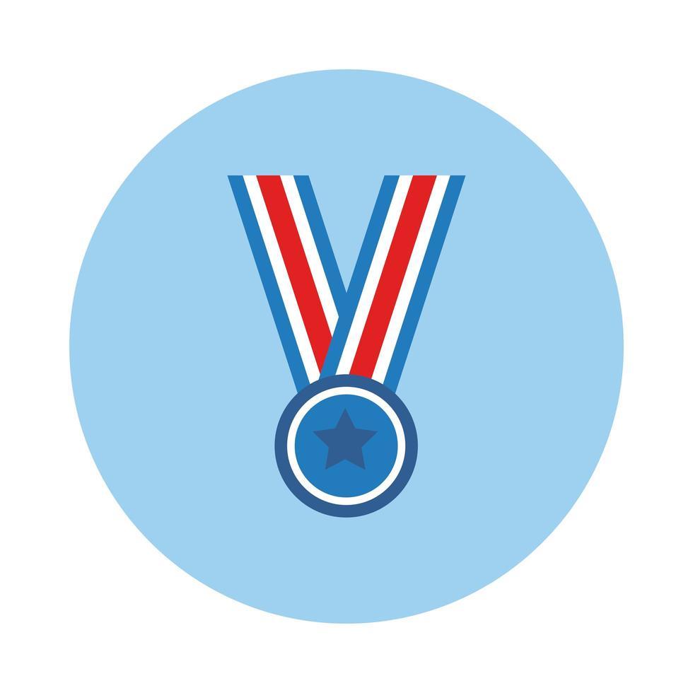 medalla con cinta y estrella estilo bloque vector