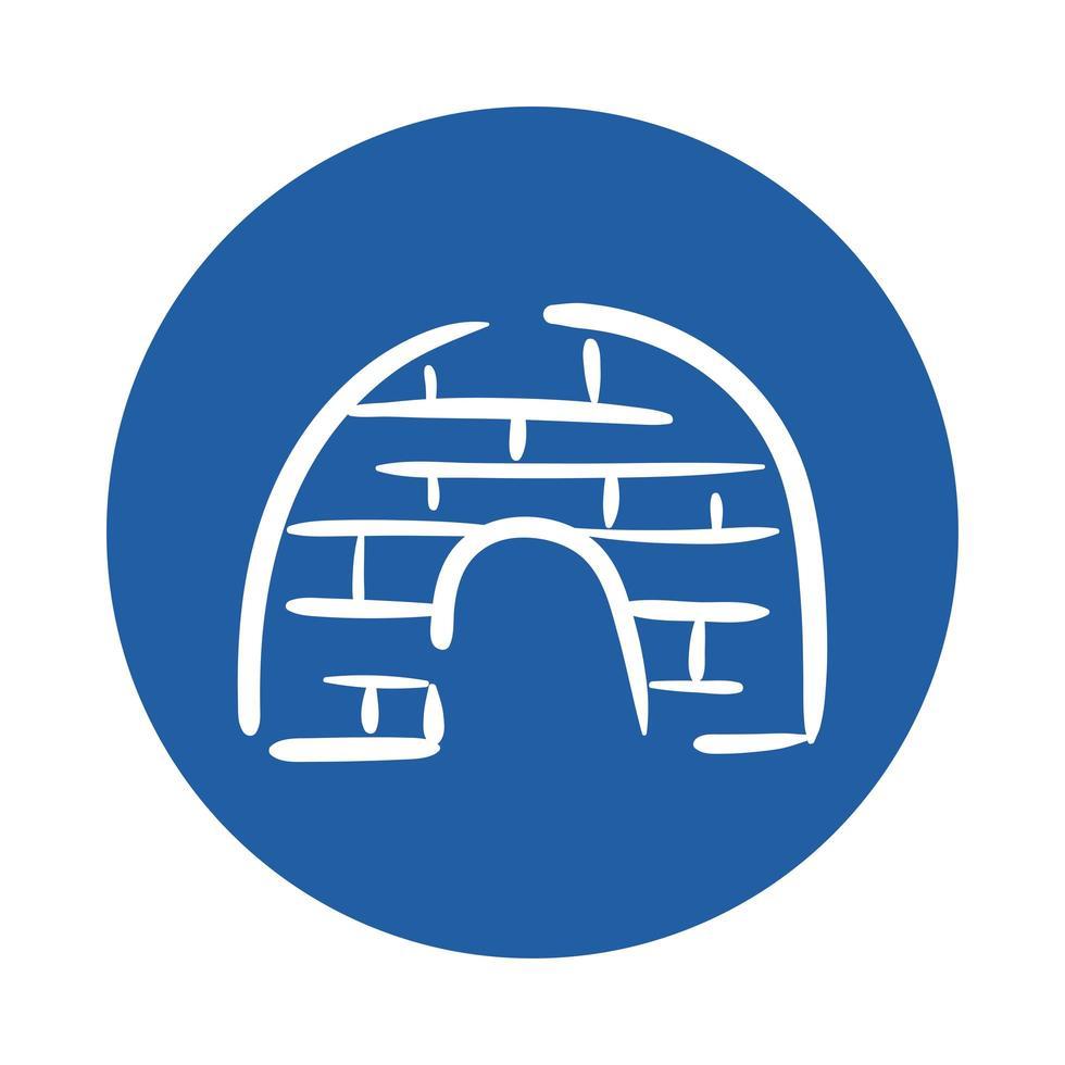 icono de estilo de bloque de hielo iglú vector