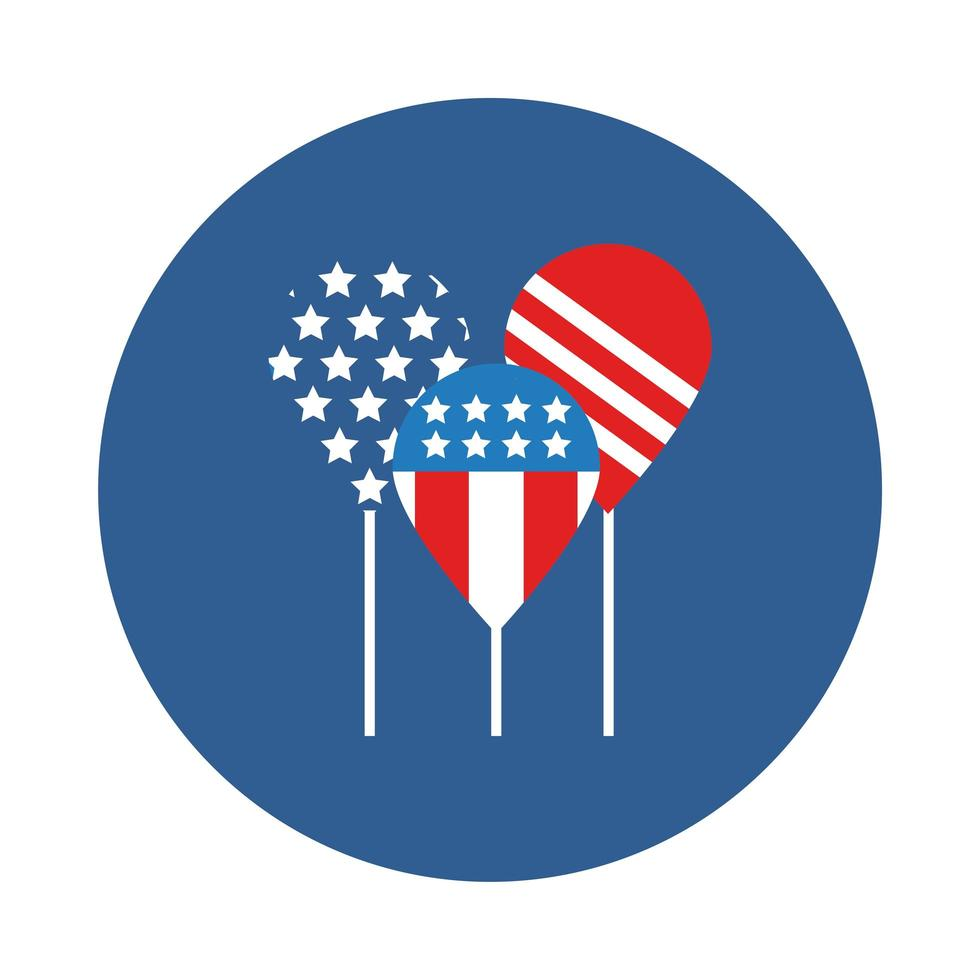 balloons helium with usa flag block style vector