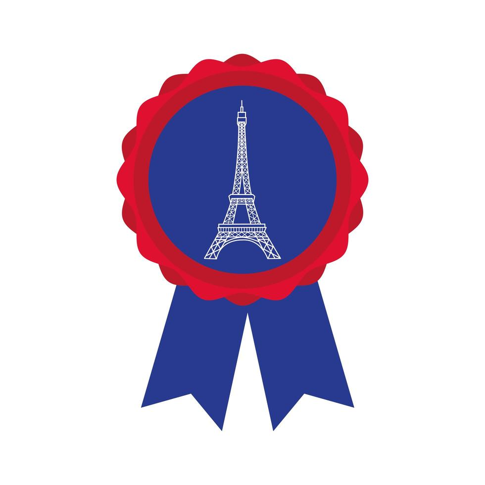 medal with eiffel tower hand draw style vector