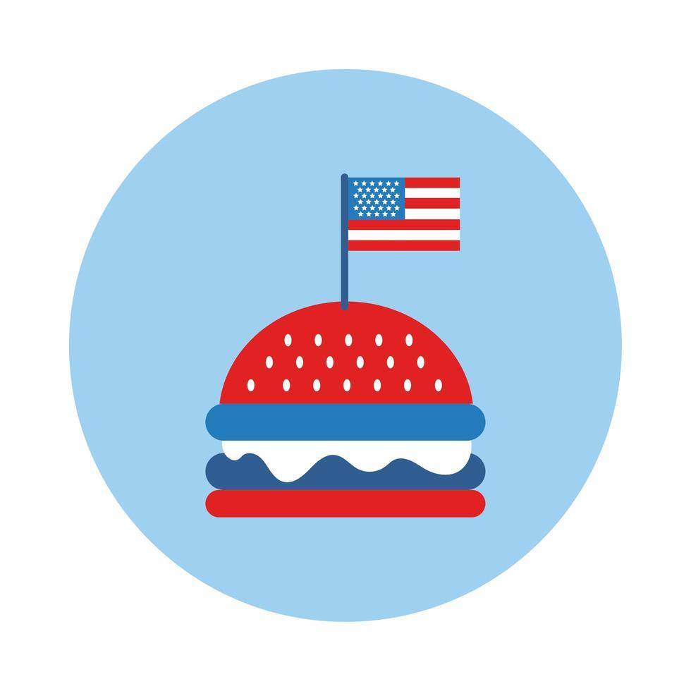 hamburguesa con estilo de bloque de bandera de estados unidos vector