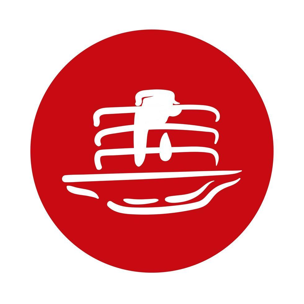 panqueques con icono de estilo de bloque de miel de arce vector