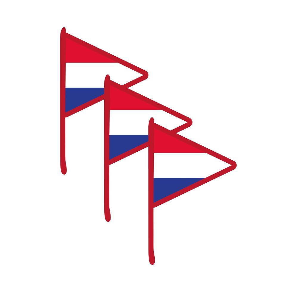 Francia banderas mano dibujar icono de estilo vector