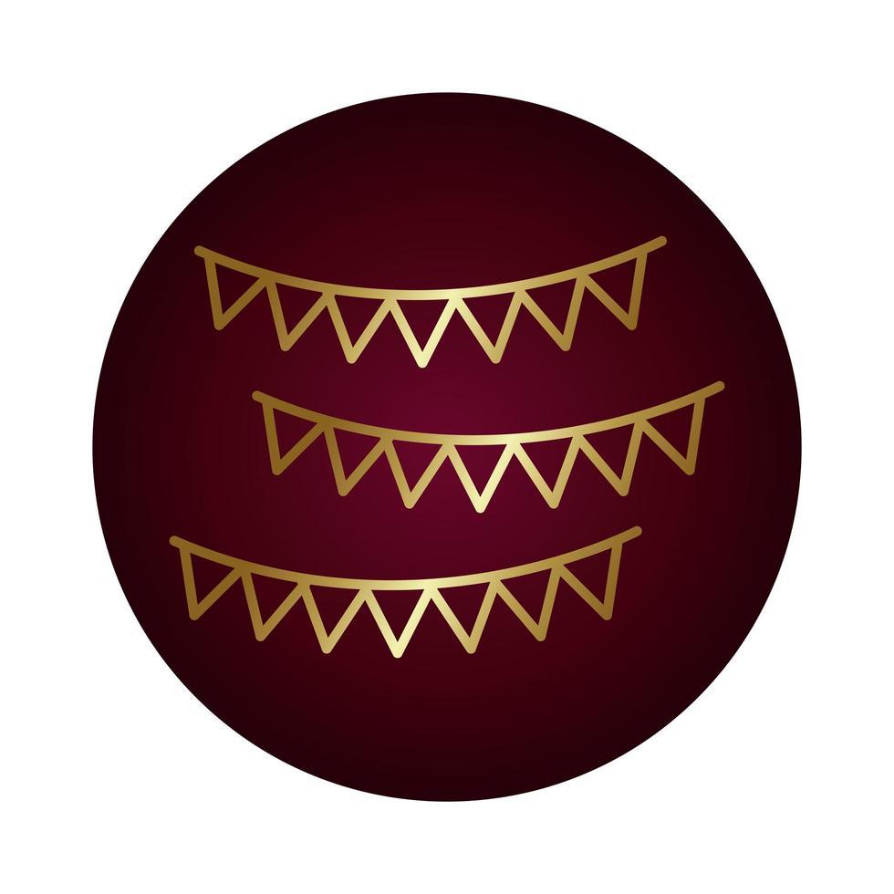 icono de estilo degradado de bloque de guirnaldas de fiesta vector