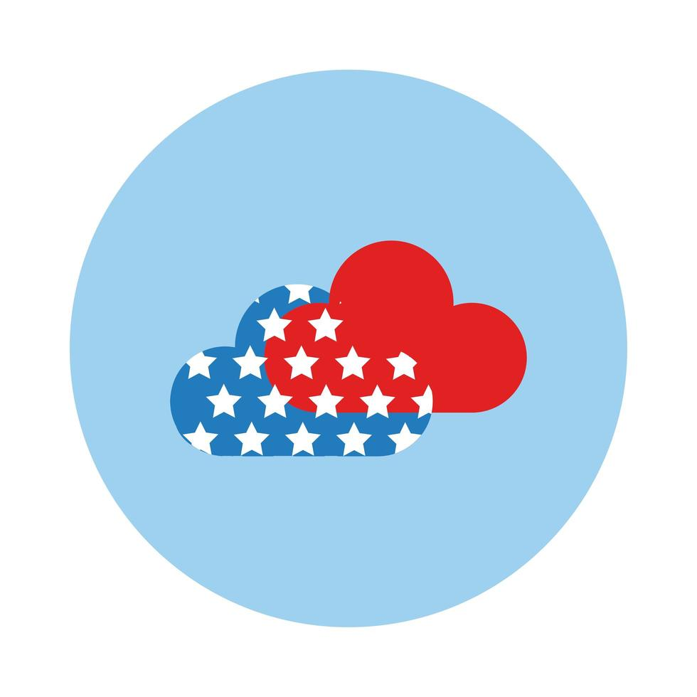 clouds with colors and stars independence day block style vector
