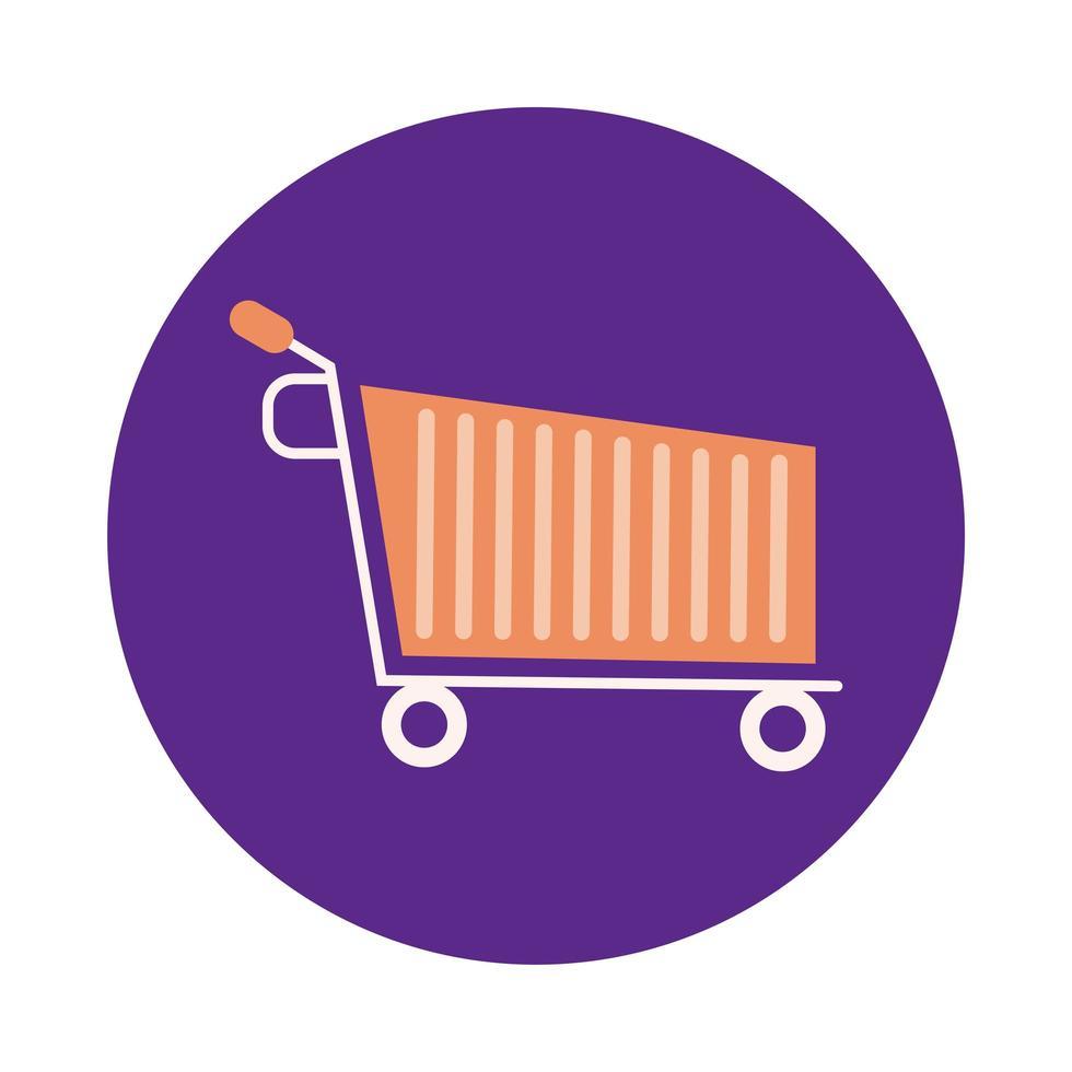carrito de compras estilo de bloque de mercado vector