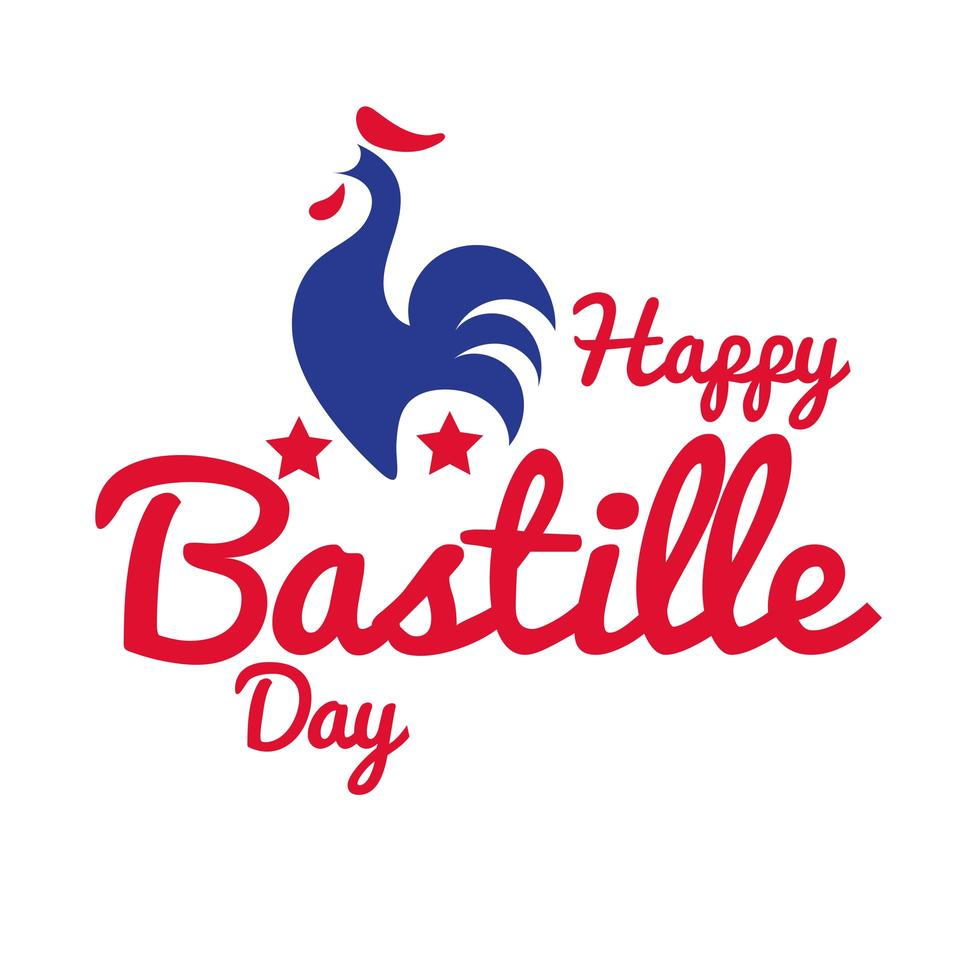 bastille day lettering with rooster hand draw style vector