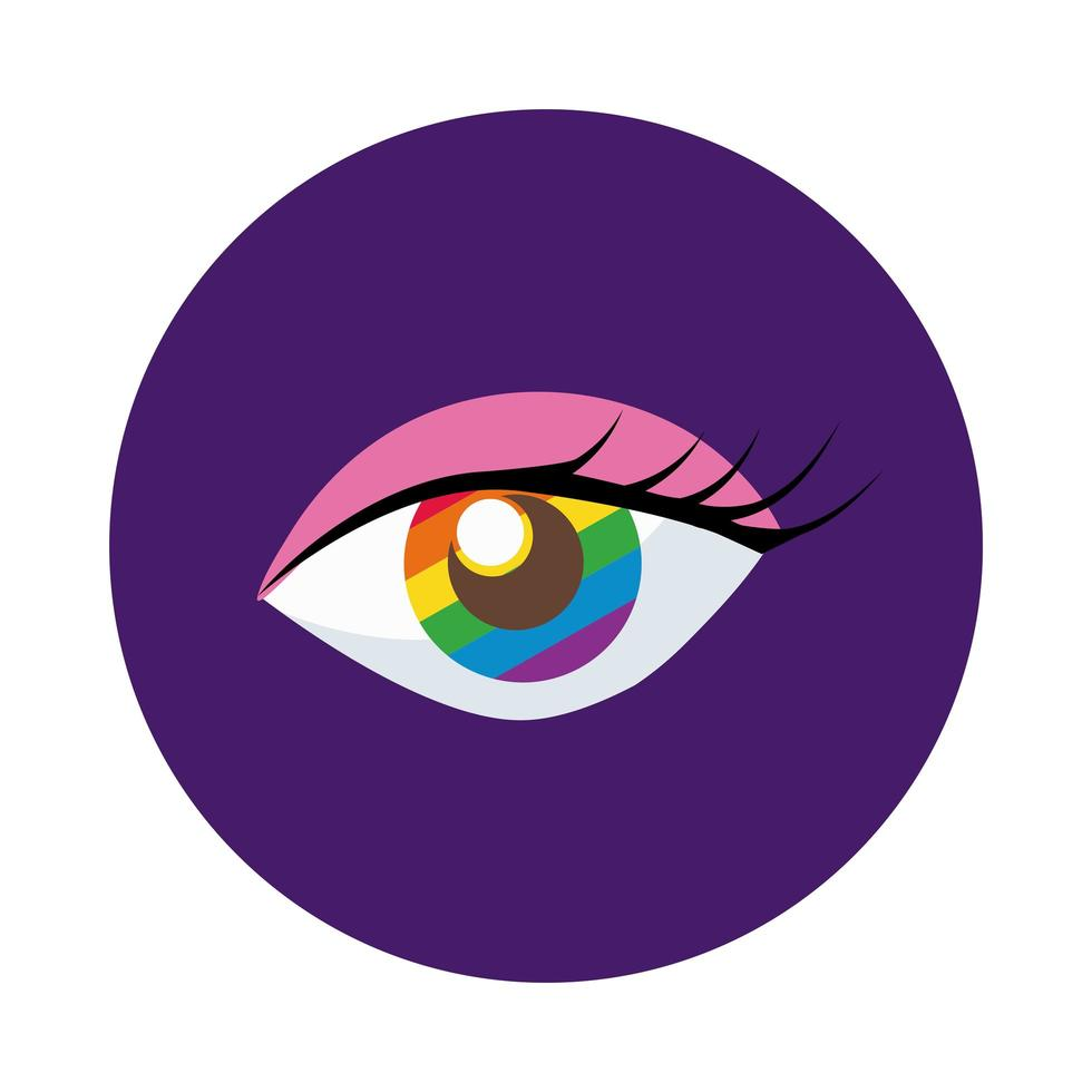 ojo con estilo de bloque de bandera del orgullo gay vector