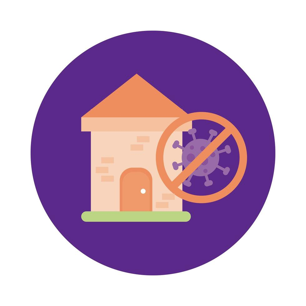 house with stop covid19 signal block style vector
