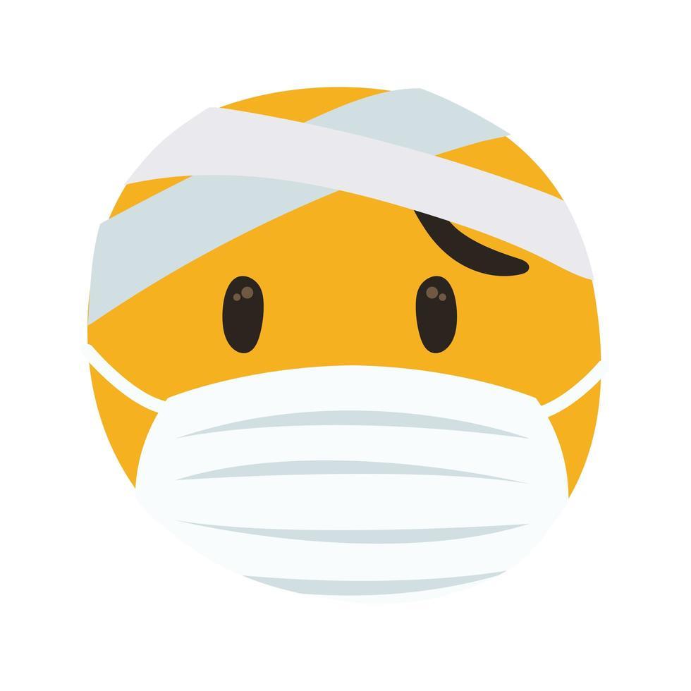 emoji harapiento con máscara médica estilo de dibujo a mano vector