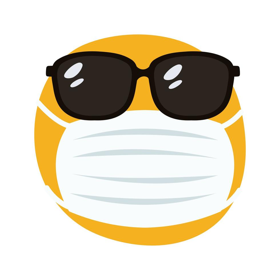 emoji wearing medical mask and sunglasses hand draw style vector