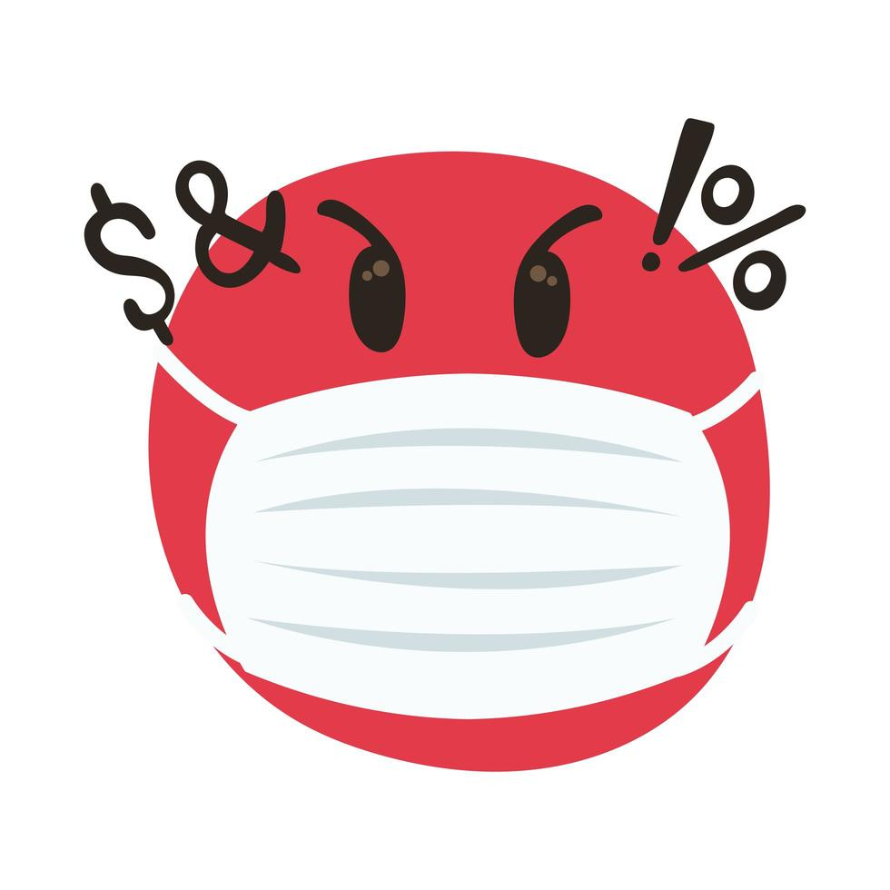 emoji angry wearing medical mask hand draw style vector