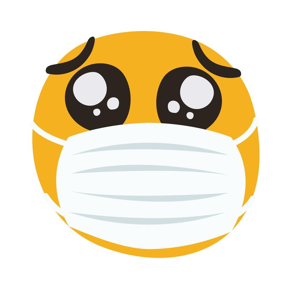 emoji wearing medical mask hand draw style vector
