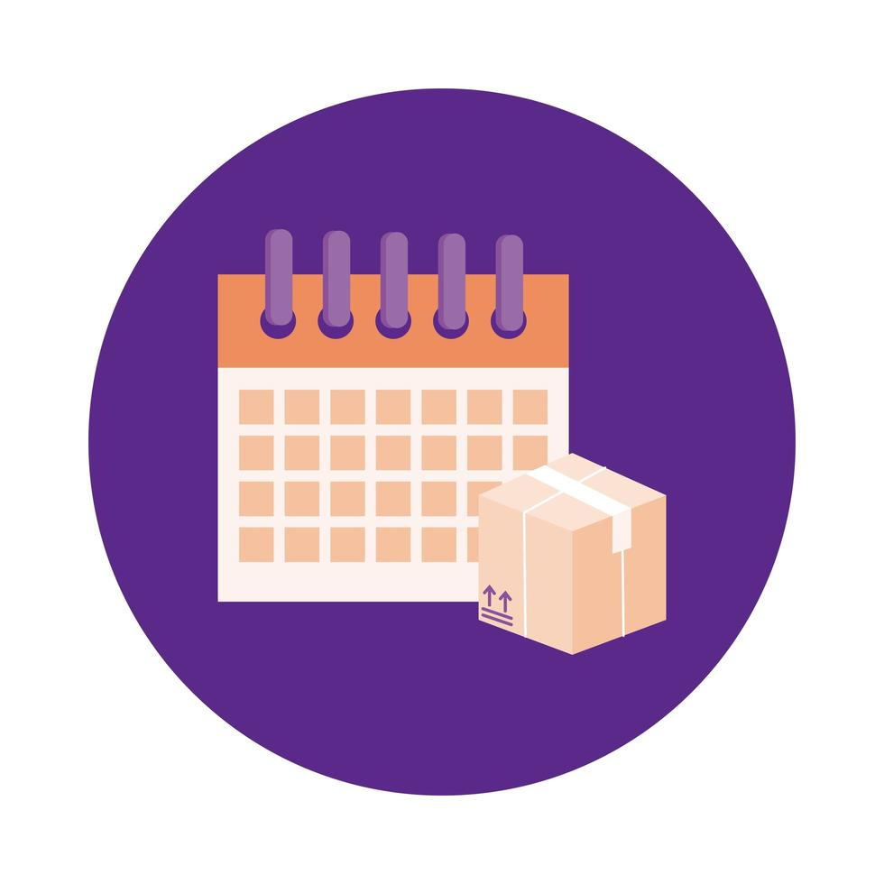 box and calendar delivery service block style vector