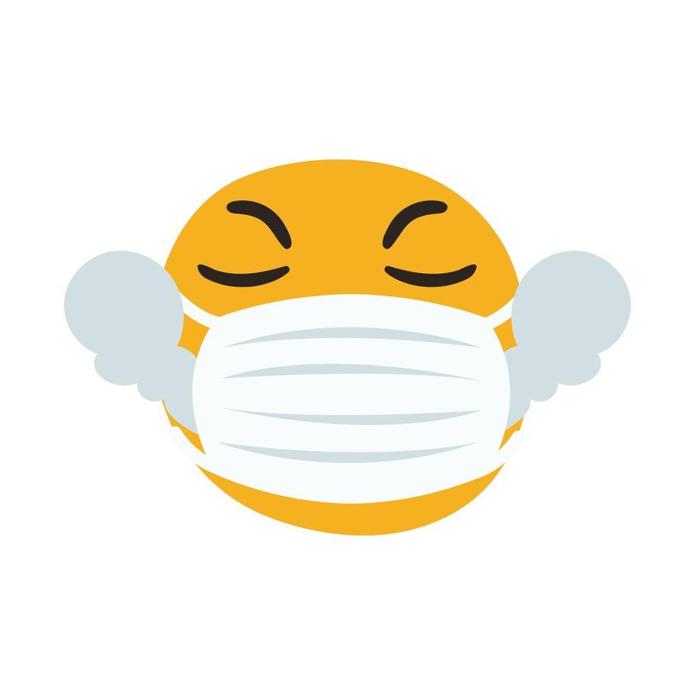 emoji calentado con máscara médica estilo de dibujo a mano vector