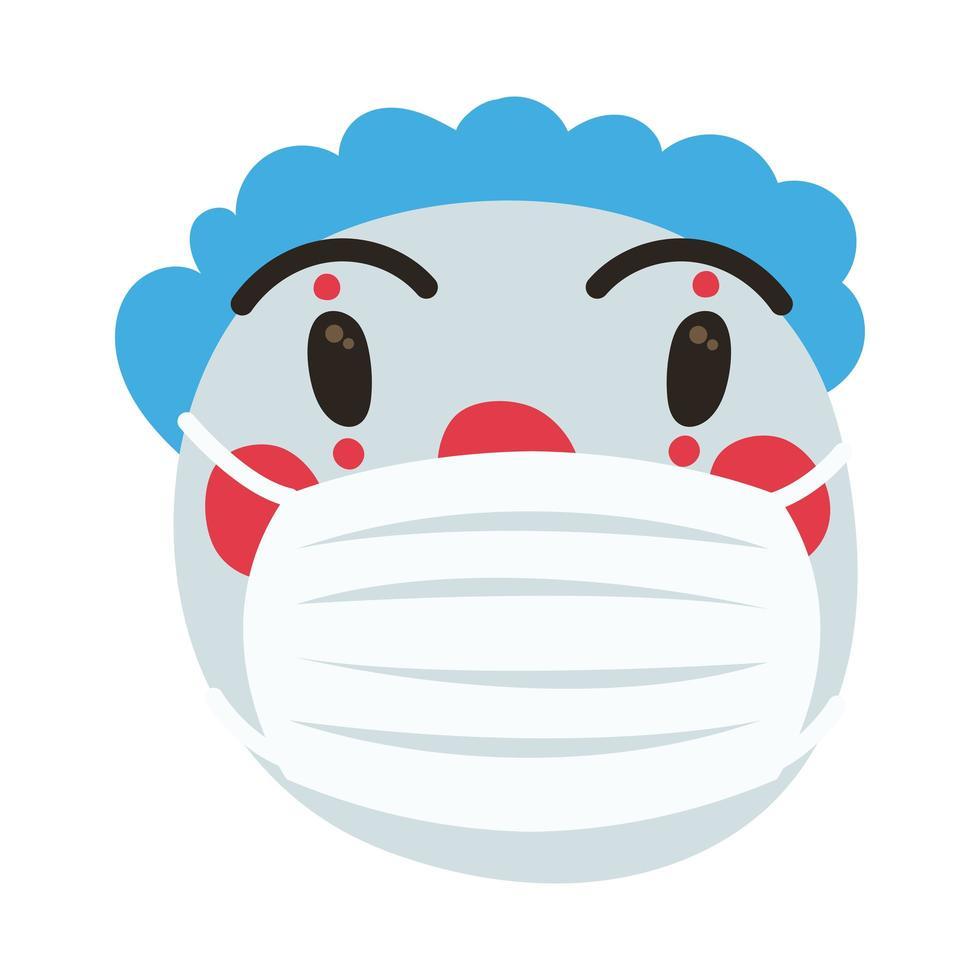 payaso emoji con máscara médica estilo de dibujo a mano vector